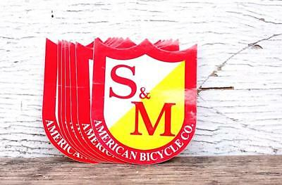 S&M BIKES SHIELD STICKERS 10PK in BLK / WHITE, RED/YELLOW