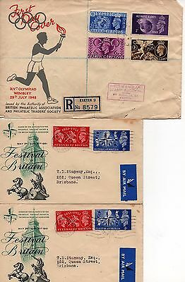 BRITAIN - FDC'S - 1948, 1951, 1965 and 1967