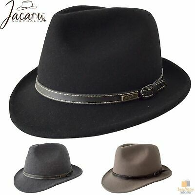JACARU Australian Wool Hat Trilby Fedora 100% WOOL Crushable Travel Genuine 1848