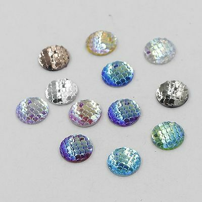 50PCS 12mm Fish Scales Style Jewelry Accessories Resin Beads Cabochons Cameo