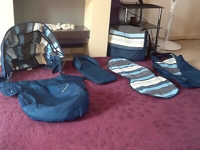 Limited Edition Indigo Blue Oyster 1 Stroller Colour Pack & Baby Changing Bag
