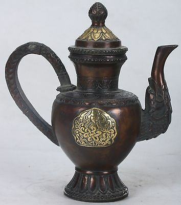 Old Copper Handwork Carved Gilt Teapot With QianLong Mark
