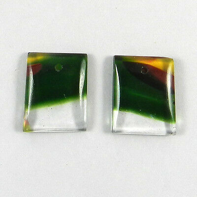 1 Pair Mexican Glass Gemstone 13x16mm Fancy Cab 14.5 cts Stones ER6474