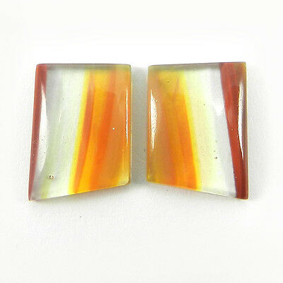 1 Pair Mexican Glass Gemstone 11.5x16.5mm Fancy Cab 11.8 Cts Stone ER9003