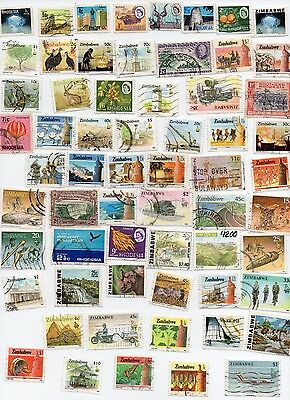 ZIMBABWE 80 Stamps All Different and Off Paper