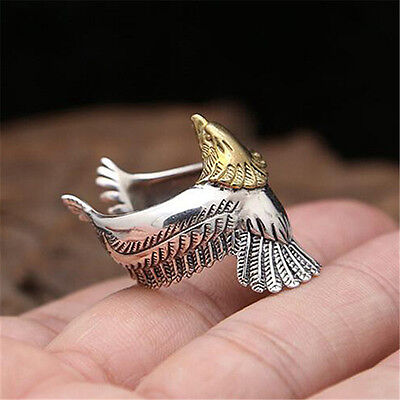 925 Sterling Silver Golden Eagle Ring for Punk Rocker Biker Men Size
