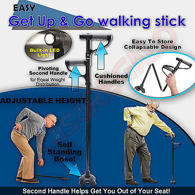 Easy Get Up Cane Folding ADJUSTABLE Walking Stick go anywhere As Seen On TV