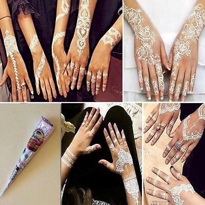 1 Pcs White Temporary Henna Tattoo Paint Ink Cones Natural Herbal Body Art