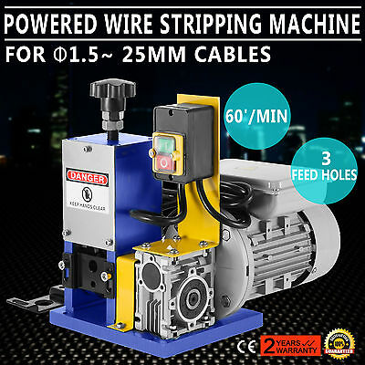 220V Powered Electric Wire Stripping Machine Peeler 55-60 feet/Min Copper GOOD