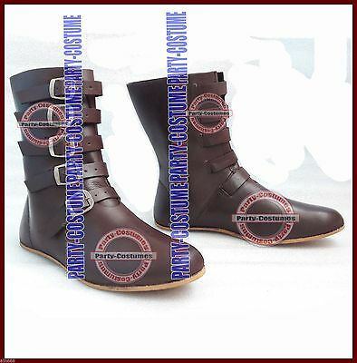 Medieval Leather Boots Brown Reenactment Mens Shoe Larp Role Play Costume Boot