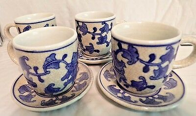 Antique MINI Chinese  blue and white porcelain cups and saucers charming crackle