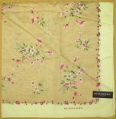 BURBERRY *Yellow Brown Flowers Scarf Handkerchief 56cm /NEKODE*11