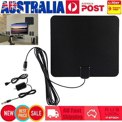 New Amplified Indoor 1080P Digital HDTV TV Antenna High Gain Low Noise 50 Miles