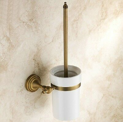 Bathroom Antique Brass Toilet Brush Set Holder Brush + Ceramic Cup Wall Mounted