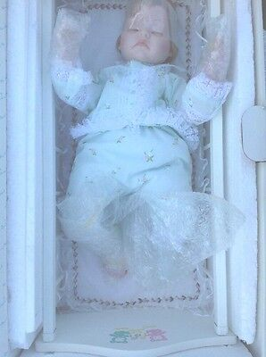 Sweet Dreams 20 inch Baby Boy Doll with Cradle 24 inches Danbury Mint Pre owned