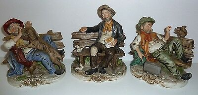 Capodimonte Set 3 Figurines Hobo Bum Tramp on Bench Italy Feeding Animals
