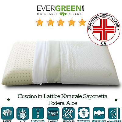 Cuscino Guanciale Saponetta in Lattice 100% Made in Italy h12 Federa in AloeVera