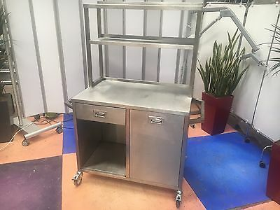 Stainless Steel Catering Trolley/Commercial Catering Cupboard w/ Gantry & drawer