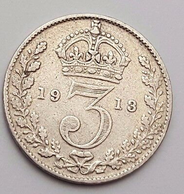 Dated : 1913 - Silver Coin - Threepence / 3d - King George V - Great Britain