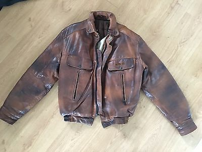 Vintage Frank Thomas Real Leather Motorcycle Jacket