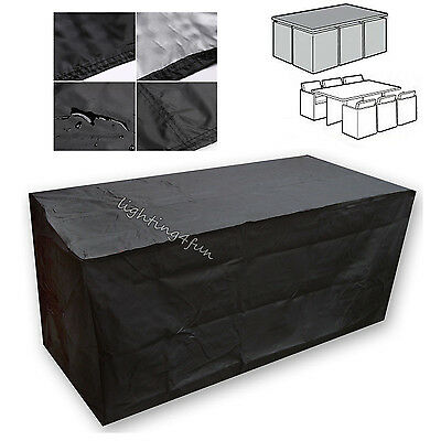 Black Large Waterproof Patio Furniture Set Cover for Outdoor Garden Rattan Table