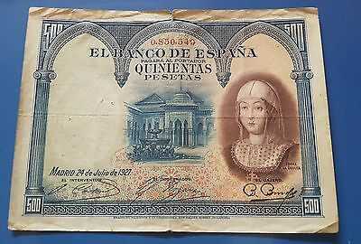 500 pesetas 1927 OJO DOBLE SELLO SECO