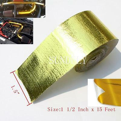 """Self Adhesive Reflective Gold High Temperature Heat Wrap Tape 15Feet X 1.5"""" Wide"""