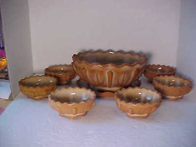 Vintage Greentown Chocolate Slag Cactus Glass Master Berry Bowl , undertray & 6