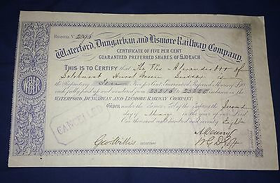 Waterford, Dungarban & Lismore Railway Company Share Certificate 1878