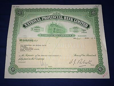 NATIONAL PROVINCIAL BANK LIMITED  Share Certificate 1959