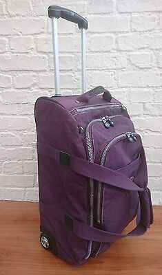 Kipling Purple Travel Duffle 2 Wheel Suitcase - Carry On Cabin Luggage Bag