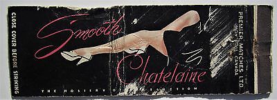 Antique  Matchbook Cover Chatelaine Stocking Hosiery Nylon Montreal Quebec