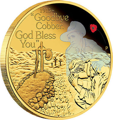 2015 1/4oz gold proof coin - The Anzac Spirit