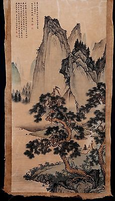 Exquisite Long Old Chinese Paper Painting Landscape Marks ChenYunZhang KK010