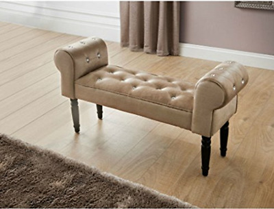 Glitz Diamante Shabby Chic Chaise Longue Pouffe Stool Mink Buttoned Chair