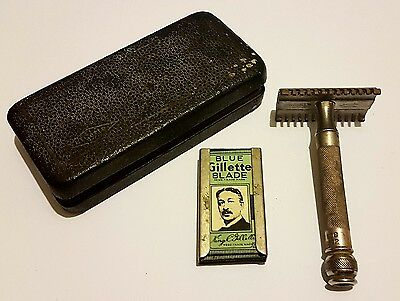 Vintage Gillette Safety Razor + Blue Blades Collectable Shaving Double Sided