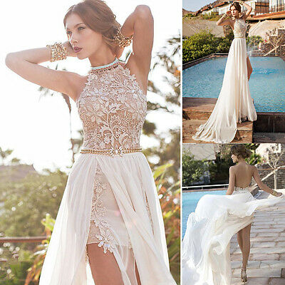 NEW  Lace Long Chiffon Evening Formal Party Cocktail Dress Bridesmaid Prom Gown
