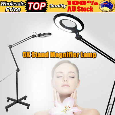 New Magnifying Lamp Glass Lens Fluorescents Light 5x Magnifier Wheels On Stand
