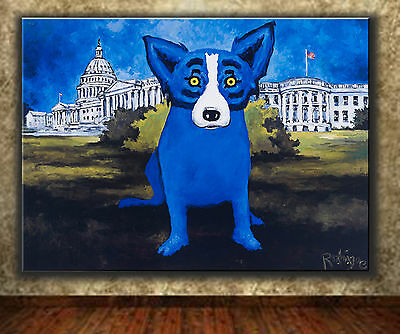 """Animals Art DOG Oil Painting Print On Canvas Wall Home Decor 12""""x16"""""""