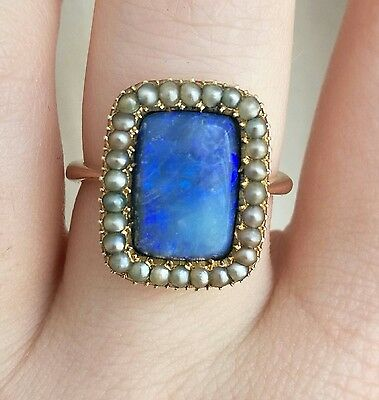Beautiful rare antique 9ct 9k gold victorian georgian mourning pearl + opal ring