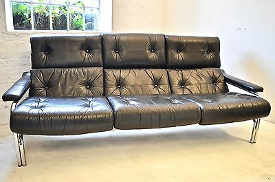 Pieff `alpha` 3 Seater Leather And Chrome Settee, Mid Century Design