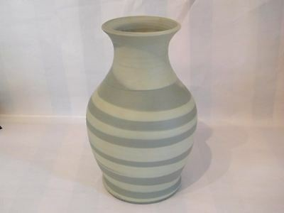 STUDIO POTTERY, Green ringed  vase ,with potter mark