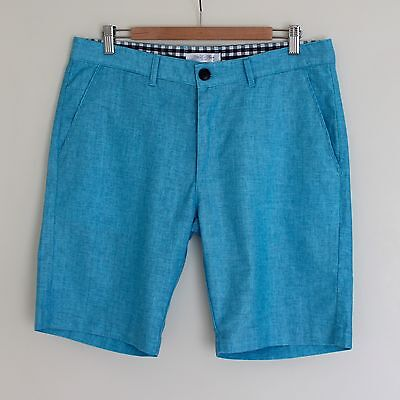 New Men's Linen Blend Shorts Walk Shorts Regular Fit Aqua Size 32