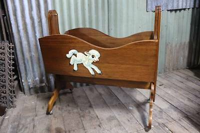 A Vintage Baby Rocking Cradle with Lovely Ba Lamb Feature - Cot