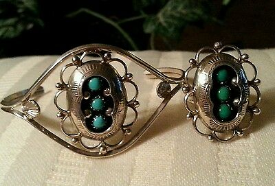 Native American STERLING SILVER & TURQUOISE RARE Snake Eye Cuff & Ring