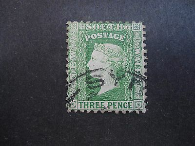 AUSTRALIA, NEW SOUTH WALES, V.F. USED 1854 3d, YELLOW/GREEN, LOOKS LIKE SG.87