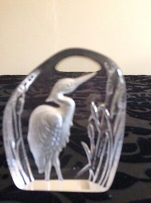 Dartington Crystal Glass Paperweight with Heron design