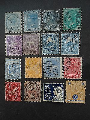 Australia, New South Wales, Used Early Lot Of 16 Mix From 1856 Onwards