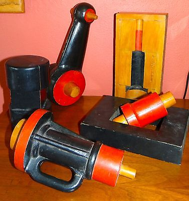 LOT 6 Hultman Industrial Painted Wood Foundry Mold Steampunk