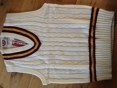Extra large Gray Nicolls cricket jumper maroon with gold at collar and waist